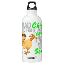 Mad Chick Messed With My Son 3 Lymphoma Aluminum Water Bottle