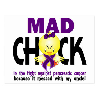 Mad Chick Pancreatic Cancer Uncle Postcard