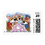 Mad Corgi Tea Party Postage Stamps