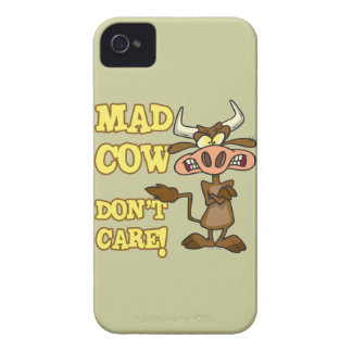 MAD COW DONT CARE FUNNY ANIMAL HUMOR iPhone 4 COVERS