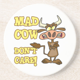 MAD COW DONT CARE FUNNY ANIMAL HUMOR COASTERS