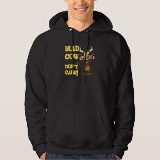 MAD COW DONT CARE FUNNY ANIMAL HUMOR HOODED PULLOVER