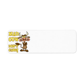 MAD COW DONT CARE FUNNY ANIMAL HUMOR LABEL