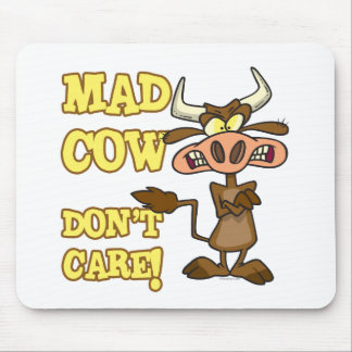 MAD COW DONT CARE FUNNY ANIMAL HUMOR MOUSEPAD