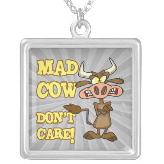 MAD COW DONT CARE FUNNY ANIMAL HUMOR SILVER PLATED NECKLACE