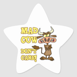 MAD COW DONT CARE FUNNY ANIMAL HUMOR STAR STICKER