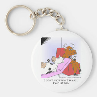 Mad Cow In Therapy Funny Gifts & Collectibles Basic Round Button Keychain