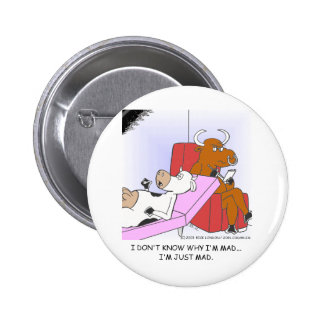 Mad Cow In Therapy Funny Gifts & Collectibles Button
