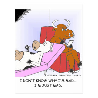 Mad Cow In Therapy Funny Gifts & Collectibles Postcard