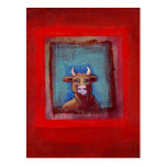 Mad Cow - Indignant upset emotional cow ART Post Cards