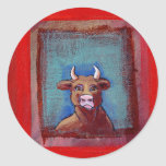 Mad Cow - Indignant upset emotional cow ART Stickers