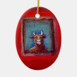 Mad Cow sad indignant upset emotional fun ART Christmas Ornament