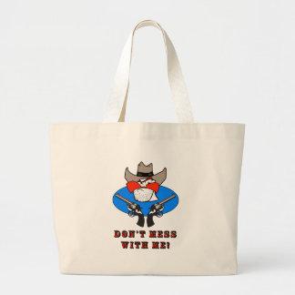Mad Cowboy Funny Humor Illustration Large Tote Bag