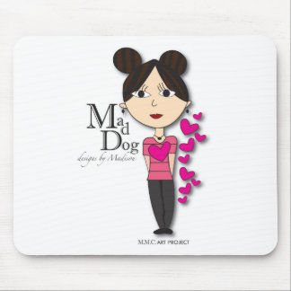 Mad Dog Pink Hearts Design Mouse Pad