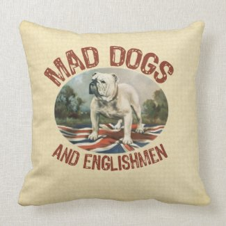 Mad Dogs and Englishmen Pillow - vintage image of British Bulldog on Union Jack flag, square pillow with neutral color background