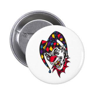 mad evil jester clown 2 inch round button