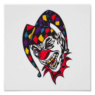 mad evil jester clown poster