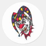 mad evil jester clown round sticker