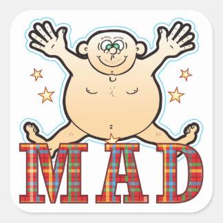 Mad Fat Man Square Sticker