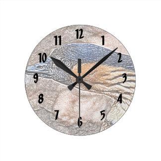mad goose colored pencil bird round clock