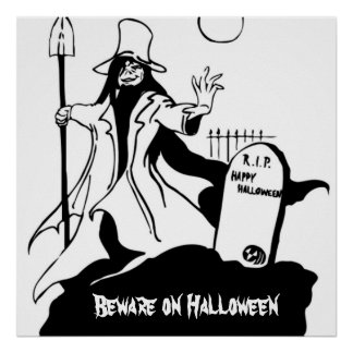 Mad Grave Robber and Cemetery Tombstone Halloween Poster