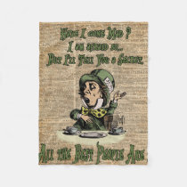 Mad Hatter,Alice In Wonderland,Quote Vintage Art Fleece Blanket