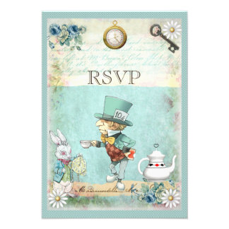 Mad Hatter Alice in Wonderland RSVP Custom Invitations