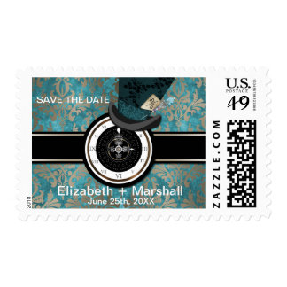 Mad Hatter Alice in Wonderland Save the Date Stamp