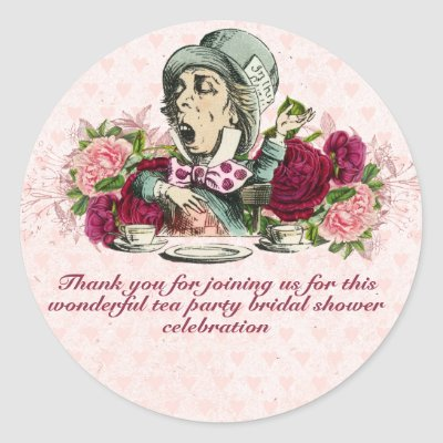 Mad Hatter Alice Vintage Tea Party Bridal Shower Classic Round Sticker