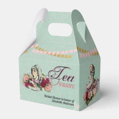Mad Hatter Alice Vintage Tea Party Bridal Shower Favor Box