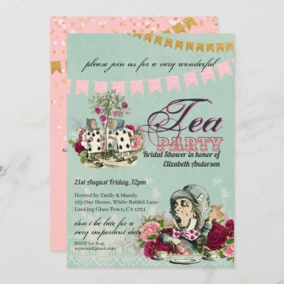 Mad Hatter Alice Vintage Tea Party Bridal Shower Invitation