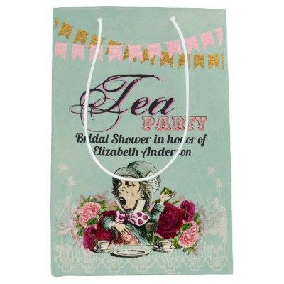 Mad Hatter Alice Vintage Tea Party Bridal Shower Medium Gift Bag
