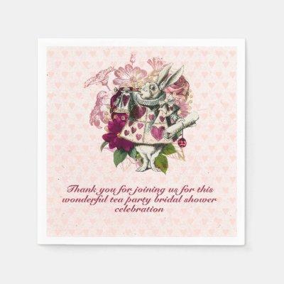 Mad Hatter Alice Vintage Tea Party Bridal Shower Napkins