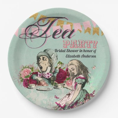 Mad Hatter Alice Vintage Tea Party Bridal Shower Paper Plate