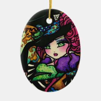 Mad Hatter Alice Wonderland Girl Fantasy Ceramic Ornament