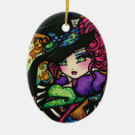 Mad Hatter Alice Wonderland Girl Fantasy Double-Sided Oval Ceramic Christmas Ornament