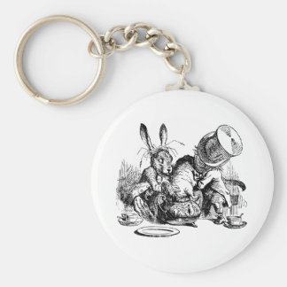 Mad Hatter and March Hare dunking the Dormouse Basic Round Button Keychain