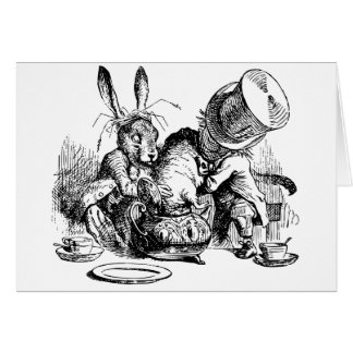 Mad Hatter and March Hare dunking the Dormouse Card