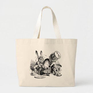 Mad Hatter and March Hare dunking the Dormouse Large Tote Bag