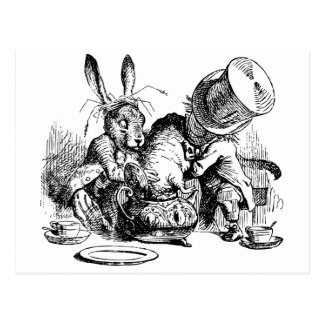 Mad Hatter and March Hare dunking the Dormouse Postcard