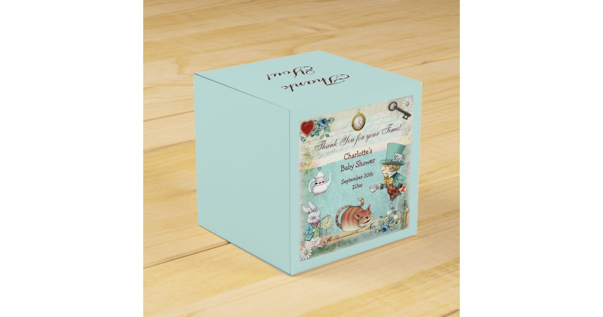 Baby Shower Thank You Gift Boxes : Mad hatter baby shower thank you favor box zazzle