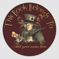 Mad Hatter Bookplate Sticker sticker