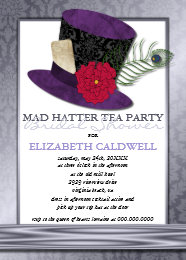 Mad hatter hat cards greeting photo cards zazzle mad hatter bridal shower invitation filmwisefo Images