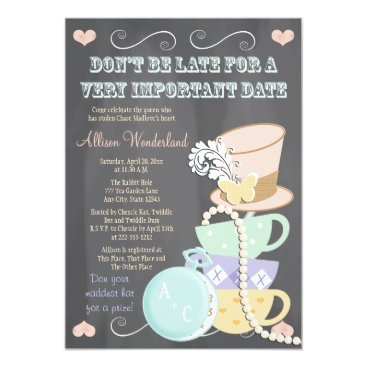 Valentines Themed Mad Hatter Bridal Shower Invitations