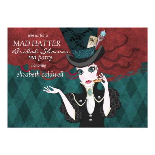 mad hatter bridal shower tea party invitation 5 x 7