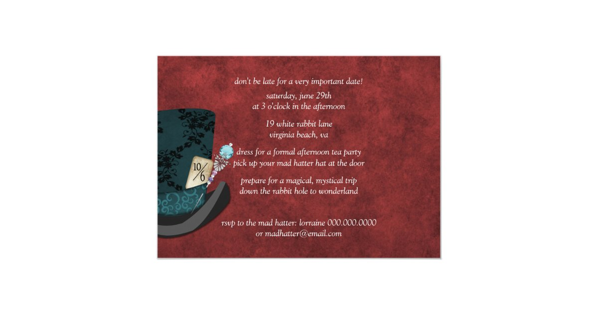 mad hatter bridal shower tea party invitation zazzle