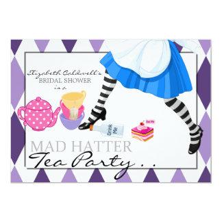 "Mad Hatter Bridal Shower Tea Party Invitation 5"" X 7"" Invitation Card"