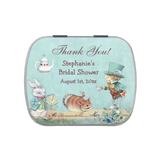 Mad Hatter Bridal Shower Thank You Favor Jelly Belly Tin