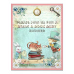 Mad Hatter Bring a Book Baby Shower for Girls 4.25x5.5 Paper Invitation Card