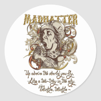 Mad Hatter Carnivale Style (with poem) Classic Round Sticker